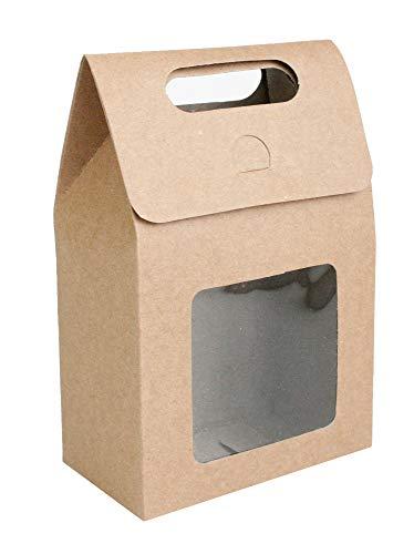 Emartbuy Starkes Papier Aufstehen Geschenktasche, 15 cm x 10 cm x 6 cm, Braune Kraft Tasche Süßigkeiten Kekse Box Mit Klarem Fenster - Packung mit 12 Stück