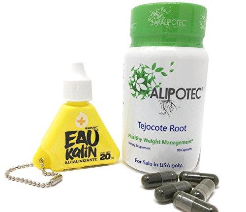 Alipotec Capsules Tejocote Root Supplement Capsulas Alipotec Raiz de Tejocote 90 Day Supply and Eau Kalin Alkaline Water - 2 Product Pack