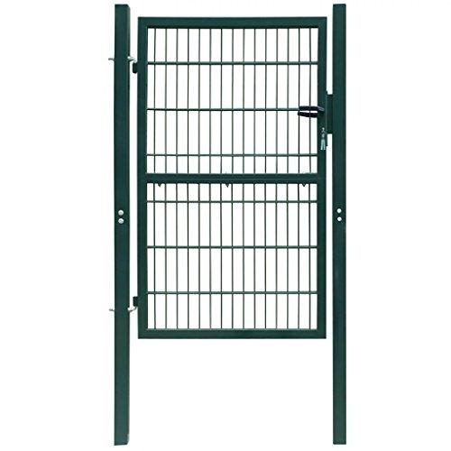 vidaXL Cancello Cancelletto staccionata 2D Porta (singolo) verde 106 x 190 cm