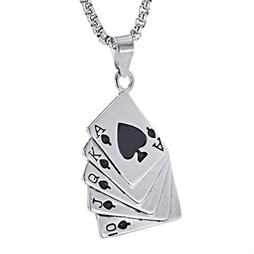 AllRing - 1 Collar de Moda para Hombre, con Colgante de Flor de póquer, de Titanio y Acero, Estilo Punk