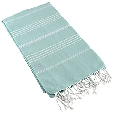 Paramus 100% Cotton Pestemal Turkish Bath Towel (Aqua White, hierapolis)
