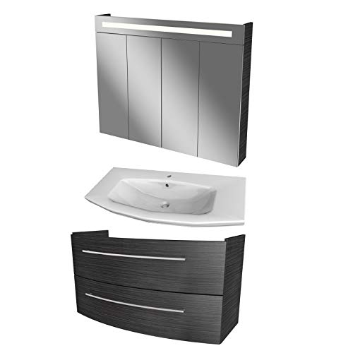FACKELMANN braunes Badmöbel Set 3-TLG. Lino mit Waschtisch Unterschrank hängend Keramikbecken 110 cm & LED Spiegelschrank