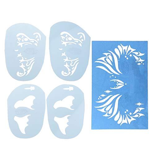 Hellery Conjunto De 5 Piezas De Pintura Facial Reutilizable Aerografía con Brillo Plantilla De Pintura Facial para Maquillaje De Tatuaje Plantilla para Maquil