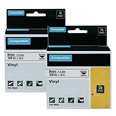 2-Pack Compatible Labels Replacement for DYMO 18443 Rhino 3/8 Inch Industrial Permanent Vinyl Label Tapes Compatible with DYMO Rhino 4200 5200 5000 6000 Industrial Label Maker, Black on White, 3/8 Inc