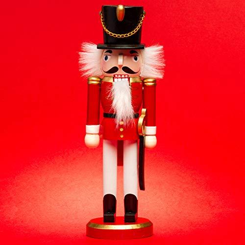 SIKORA NK-G Deko Nussknacker Figur aus Holz Verschiedene Motive, Farbe/Modell:Soldat rot weiß (B), Größe:Höhe ca. 26 cm