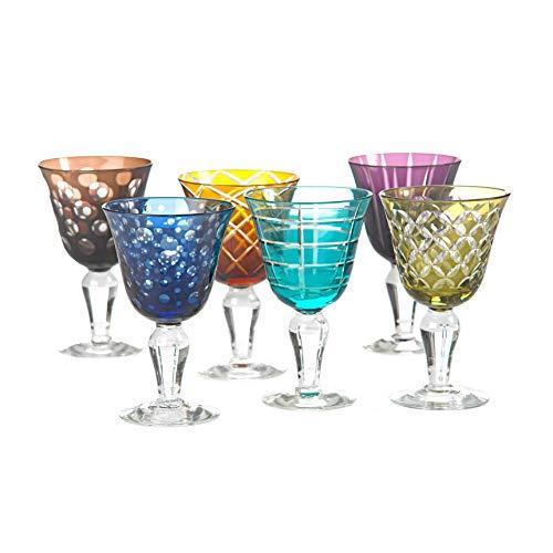 Weingläser farbig Cuttings 6er Set - pols potten, geschliffenes Glas, verschiedene Motive, Designer Stielglas, wunderschönes Rot- bzw. Weißweinglas