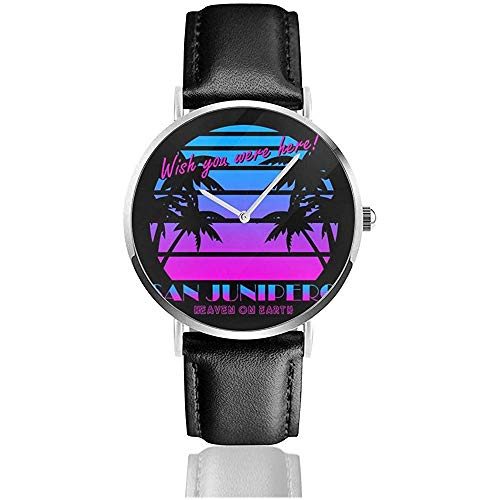 Unisex Business Casual Specchio nero San Junipero Wish You Were Here 80S Orologi Orologio al quarzo in pelle