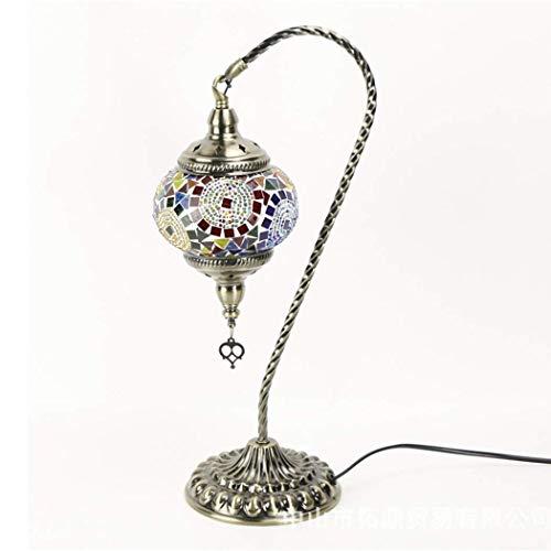 DALUXE Lámpara de Mesa de Mosaico Turco Lámpara de Cristal Marruecos Tiffany Linterna Escritorio Lámpara Vintage Estilos Rústicos, Zócalo de Bronce, Sala de Estar Dormitorio Decorativo