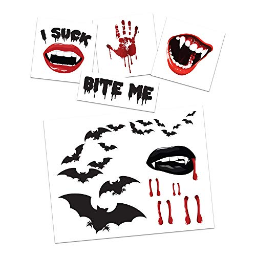 Vampire Temporary Tattoo Pack   Halloween Costume Tattoo Kit   Skin-Safe   MADE IN USA   Removable