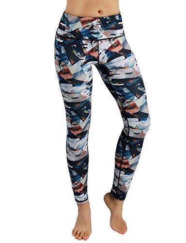 ODODOS Power Flex Printed Yoga Pants Tummy Control Workout Non See-Through Leggings with Pocket,FineArt,Small