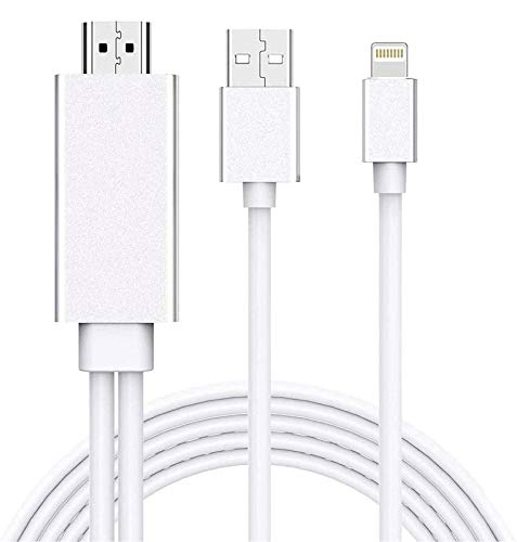 [Apple MFi Certified] Lightning to HDMI Adapter Cable, Compatible with iPhone iPad to HDMI Adapter Cable, 1080P Digital AV Adapter HDTV Cable for iPhone/iPad to TV Projector Monitor - 5.9ft, Silver