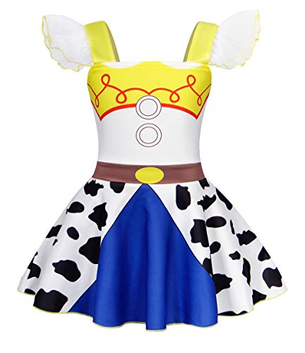 AmzBarley Mädchen Kostüm Jessie Kleid Jessie Costume Cowgirl Kostüm Cosplay Schick Party Ankleiden Geburtstag Karneval Halloween Kleidung