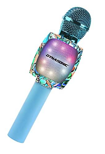 DYNASONIC Micrófono Karaoke Bluetooth, Juguetes para niños y niña Microfono Inalámbrico Karaoke Portátil con Luces LED para Niños, Regalos Originales niños (DM-05 Azul)