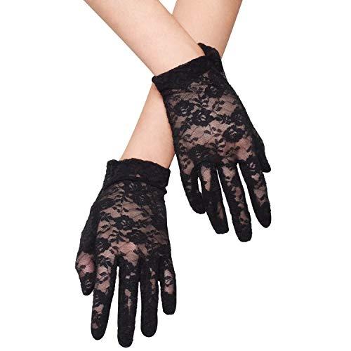 WITERY - Guantes de novia de encaje corto para mujer, delicados, de seda, para bodas, bailes, longitud de muñeca Negro Negro (Talla única