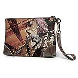 Bolso de mano de cuero de una pieza Naruto para hombres y mujeres de alta calidad con cremallera de metal y correa de piel suave