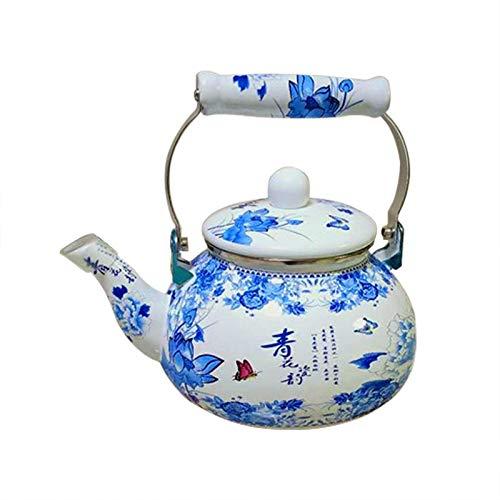 2.4L Retro Esmalte Caldera Azul y Blanco Porcelana Sistema de té de Vino Cafetera Cocina Inicio Cocina Cocina Hervidor de frío Leche Jarra