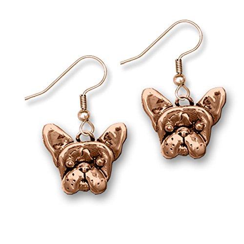 Bronze French Bulldog Earrings Made in America by The Magic Zoo