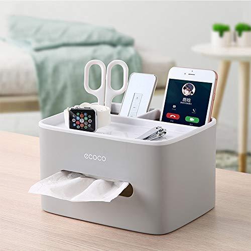 ECOCO - Caja de almacenamiento multifuncional para escritorio con mando a distancia, organizador de cosméticos, caja de pañuelos de papel con succión, plástico abs, Grey
