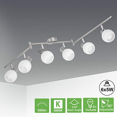 Kimjo LED Deckenstrahler 6 Flammig Schwenkbar, LED Deckenlampe inkl. 6 x Leuchtmittel E14 5W Warmweiß 3000K, Deckenleuchte Wohnzimmer Deckenleuchten Küche Deckenspot Flur Modern Matt Nickel