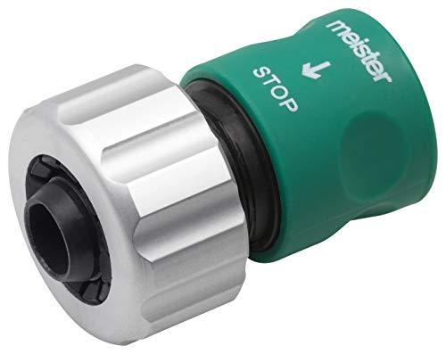 Meister Schlauchverbinder 19,05 mm (3/4 Zoll) - Integrierter Wasserstop - Aus Aluminium - Mit Soft-Touch-Oberfläche - Wasserdicht / Steckverbinder / Schlauchanschluss / Schlauchkupplung / 9924820