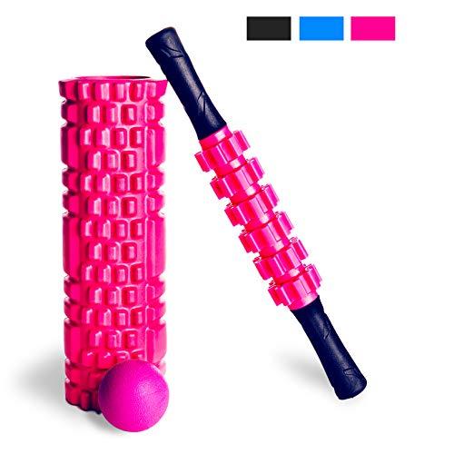 Faszienrolle Set 3-teilig, rosa – Yoga Retreat • Faszienrolle, Massage-Roller-Stab & Massageball, inkl. Tragetasche • professionelles Fitness Zubehör für zuhause • Massagegeräte für Faszientraining
