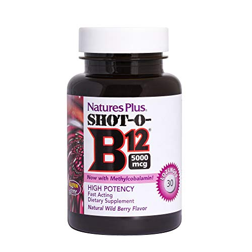 NaturesPlus Shot-O-B12 (Methylcobalamin) - 5000 mcg, 30 Vegetarian Lozenges - Natural Wild Berry Flavor - High Potency, Fast Acting B12 Supplement - Memory & Energy Booster- Gluten-Free - 30 Servings