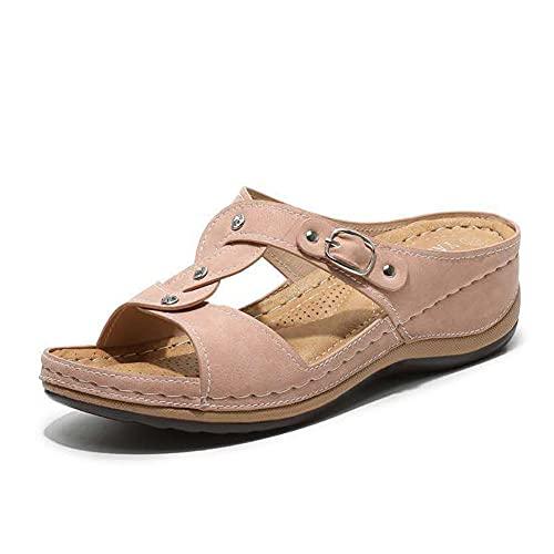 Traciya Sandalias de cuña para mujer, sandalias de cuero con correa cruzada abierta con soporte de arco para verano (azul/2), color Rosa, talla 36 EU