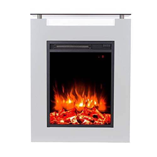 GLOW FIRE Elektrokamin mit Heizung, Wandkamin und Standkamin mit LED | Künstliches Feuer mit zuschaltbarem Heizlüfter: 1000/2000 W | Fernbedienung, Dimmer, Weiß | modern