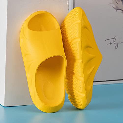 Chanclas Mujer Ducha Playa Hombres Mujeres Almohada Toboganes Baño Ducha Zapatillas, Hogar Antideslizante Suela Gruesa Pareja de Verano Sandalias de Color sólido Amarillo EU37-38