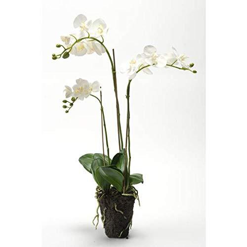artplants - Künstliche Phalaenopsis Orchidee Pabla im Erdballen, weiß-gelb, 70 cm - Kunstorchidee/Deko Orchidee