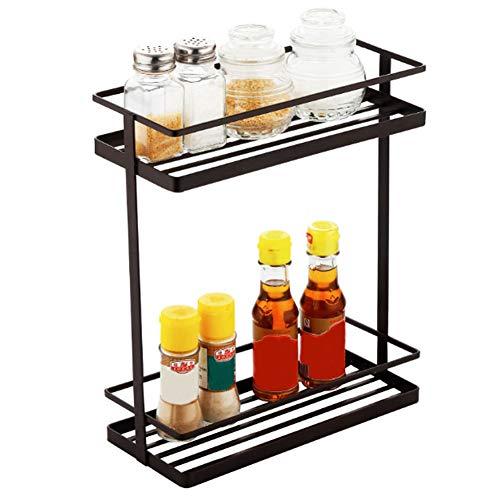 Warmiehomy Organizador de especias de pie, 2 niveles, estante de almacenamiento para especias condimentos hierbas encimeras almacenamiento para cocina de metal antioxidante