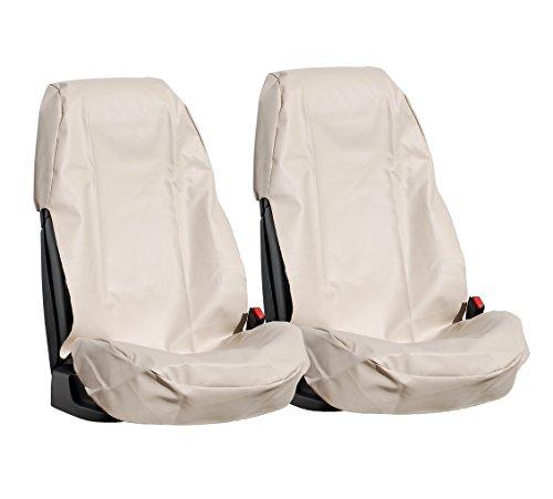 L&P Car Design GmbH A0080 2 Stück Auto Sitzschoner Werkstattschoner Sitzbezug aus robustem Kunstleder in Beige aus ECO Leder Schonbezug wasserdicht pflegeleicht robust langlebig PU