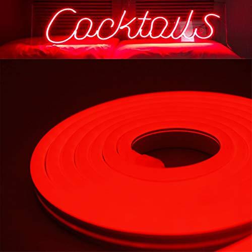 YXH 12 V Silikon LED Neon Lichtschlauch, wasserdicht für Indoor & Outdoor Dekoration DIY Schild, 16.4FT Rot