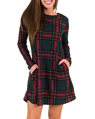 MIROL Women's Long Sleeve Plaid Color Block Diamond Casual Swing Loose Fit Tunic Dress with Pockets (M, Green)