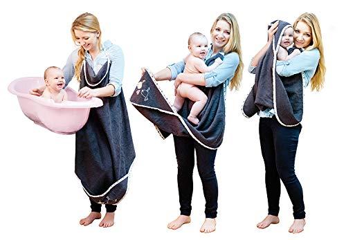 MaxiPlus Baby-Badetuch mit Freisprechfunktion – verhindert, dass die Kleidung nass wird, beide Hände frei, um das Baby sicher aus der Badewanne zu heben, 100 % weicher Baumwollfrottee, trocknet schnell und einfach, großzügige Größe, mit Kapuze (grau)