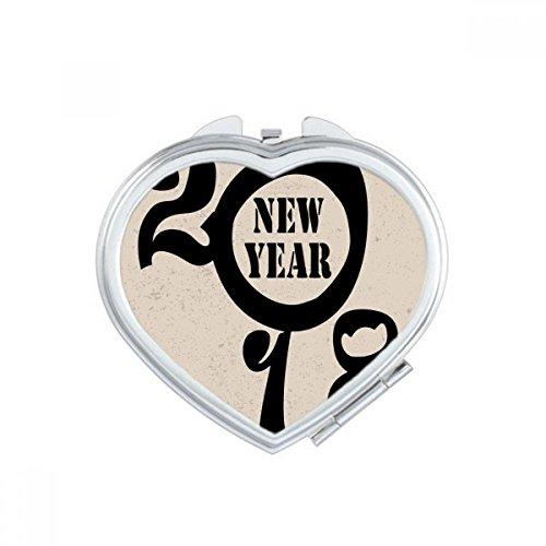 DIYthinker Noir Bonne Année 2018 Big Dog Coeur Maquillage Compact Miroir de Poche Portable Mignon Petit Miroirs Main Cadeau Multicolor