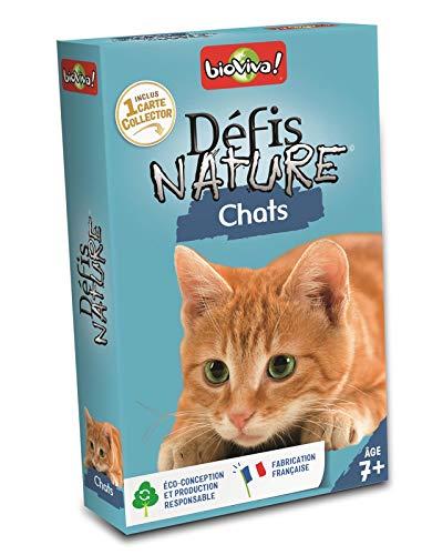 Défis Nature 282642–Juego de Cartas de Gatos [Texto en francés], Color Azul