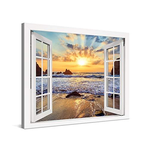 PICANOVA – Cuadro sobre Lienzo Sunset Over Rocky Beach Window 80x60cm – Impresión En Lienzo Montado sobre Marco De Madera (2cm) – Disponible En Varios Tamaños – Colección Playas
