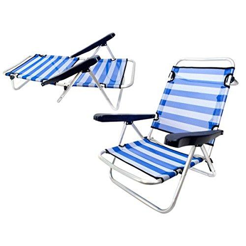 Monty Lolahome - Sedia Bassa Pieghevole Con 4 Posizioni Da Spiaggia O Campeggio, In Alluminio, 61 X 47 X 80 Cm