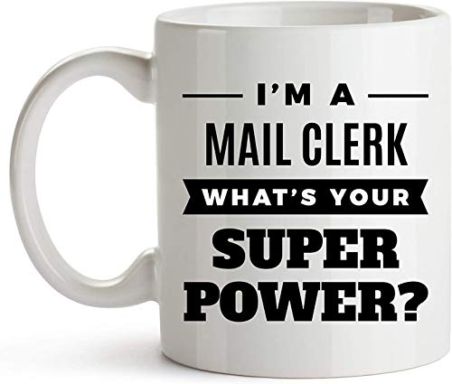 11 oz koffiemok, Ik ben een Mail Clerk Wat is uw Super Power, Mail Clerk Mok, Koffiemok, Postal Clerk, Mailroom Clerk, Mail Sorter, Mail Handler, Mail Processor, Mail Opener, Grappige Mail Clerk Mok