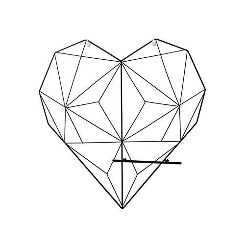 AHP Gadgy Pared De Deco del Corazón del Metal En Forma - Memo El Panel De Pared con Accesorios De Metal - Configuración De Fotos De Alambre De Malla - Estilo Cuadrícula Estética Nórdica,Negro
