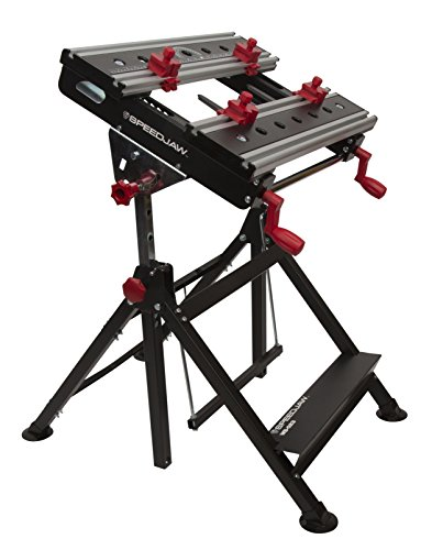Speedjaw Portable Clamping Project Workbench / Workstation for Metal and Woodworking, Adjustable Height and Tiltable Platform, Worktop Measures 11 ⅝ by 23 ⅝ Inches, Folds for Storag