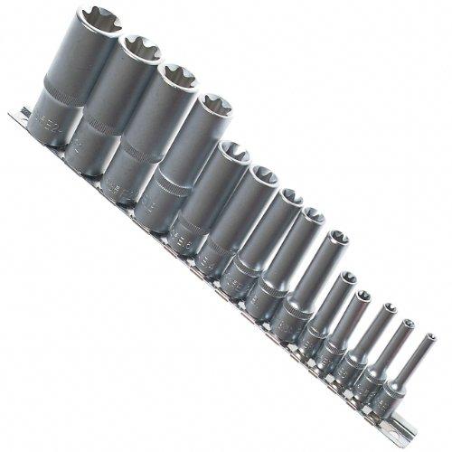 """14 x Lange Schraubenschlüssel Einsätze Stecknüsse aussen TORX®Nuss E-PROFIL 1/4\"""" 3/8\"""" 1/2\"""" Antrieb E4-E24 Cr-V auf Steckleiste/Steckschiene - Chrom-Vanadium-Stahl"""