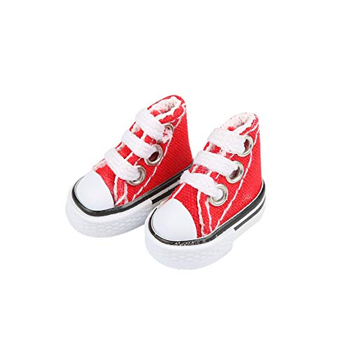 DIY-SCIENCE Mini Finger Shoes, Cute Skate Board Shoes for Finger Breakdance/ Fingerboard/ Doll Shoes/ Making Sneaker Keychains etc. (Red)