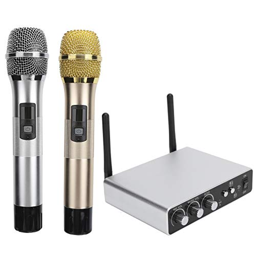 Wireless Microphone Set, 2 in 1 UHF Microphone & Receiver System...