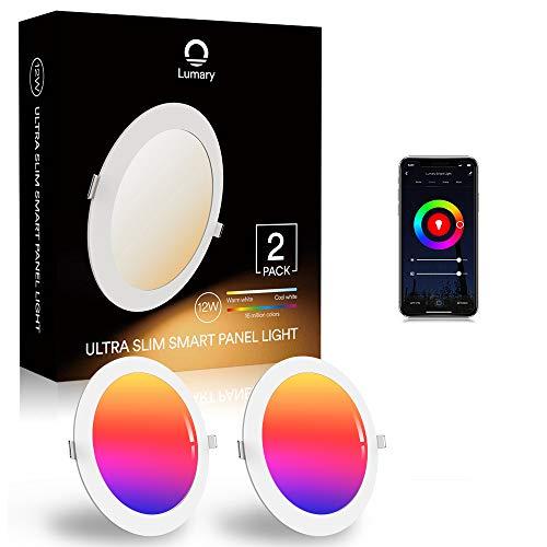 Lumary 12W LED Einbaustrahler 2er Pack LED Deckenstrahler Deckenspots Deckenleuchte, 16 Millionen Farben Dimmbar Weiß(2700K-6000K) LED Einbauleuchte Einbauspots Kompatibel mit Alexa, Echo,Google Home