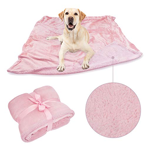 Pawsse Large Dog Blanket,Super Soft Fluffy Sherpa Fleece Dog Couch Blankets and Throws for Large Medium Small Dogs Puppy Doggy Pet Cats,Pink