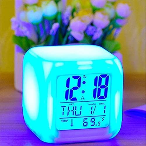 Multi-Functional White Alarm Clock LED Digital Clock 7 Color Changing Light Nightlight Kids Desk Clock Children Gift Home Gadget