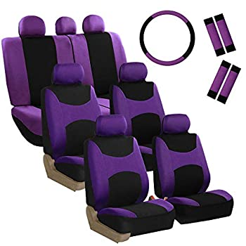 FH Group FB030217 Light & Breezy Flat Cloth Seat Covers  Purple  7 Passenger Set w FH2033 - Universal Fit for Cars Trucks & SUVs