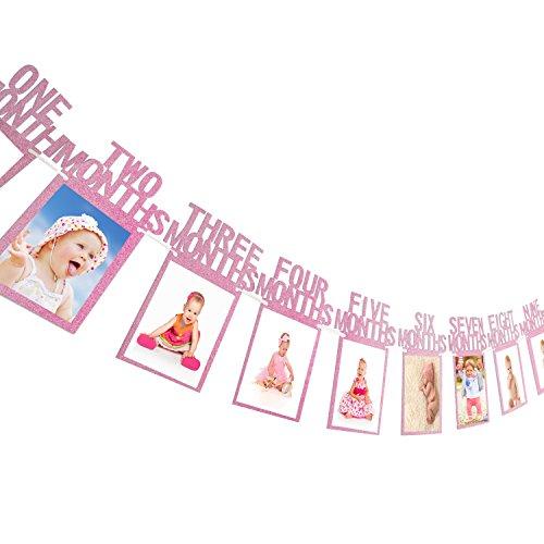 1. Geburtstag Girlande Bilderrahmen Baby Foto Banner Baby 1-12 Monate Foto Prop Party Girlande Dekor Verdickte Karte Papier (Lila)